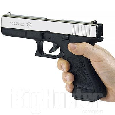Bruni pistola a salve Gap calibro 8 nickel tipo Glock 17