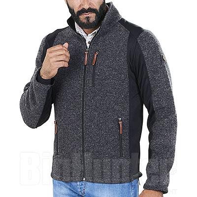 Giacca misto lana Kalibro Woolwind Grey Mélange-Black