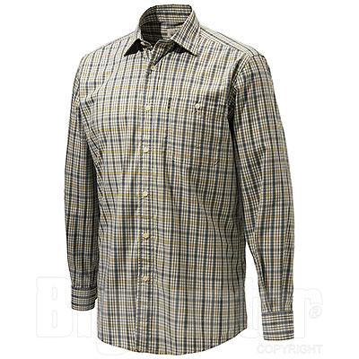 Camicia uomo Beretta Plain Collar Beige Blu Check
