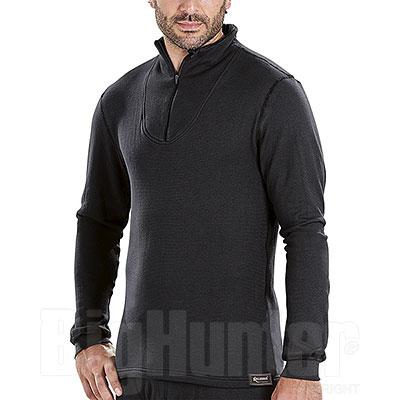 Maglia termica uomo Kalibro Cotton-Siltex Zip Black