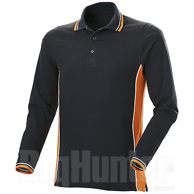 Polo Manica Lunga Uomo Melt Black-Orange