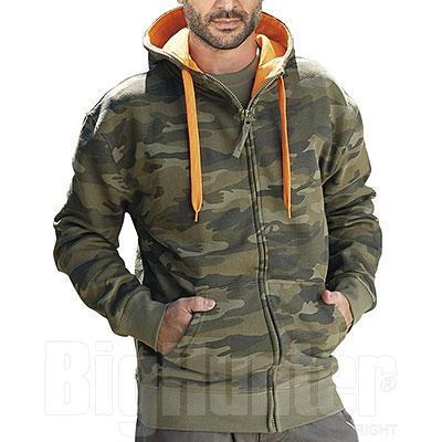 Felpa con cappuccio Full Zip Camouflage Green 280 g/m²